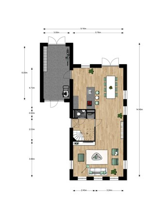 Floorplan - Jacques Tatistraat Bouwnummer 012, 6515 AA Nijmegen